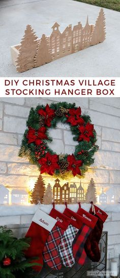 How To Make A DIY Christmas Village Silhouette Holiday Stocking Hanger Box - Kreative ideen - holidays Diy Christmas Village, Christmas Villages, Diy Christmas Gifts, Christmas Projects, Christmas Holidays, Christmas Wreaths, Christmas Decorations, Christmas Ornaments, Advent Wreaths