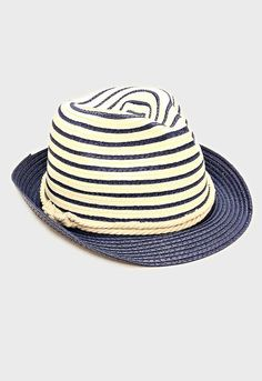 Womens Navy Blue Two Tone Straw Fedora Hat Nautical Rope Band Accent Beach, Pool, Vacation, Summer Hat  Details: Color: Navy Blue Size: 11 R, 7 ID, 5
