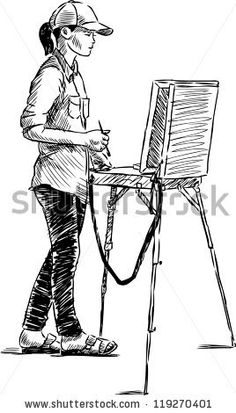 young artist - stock vector