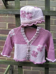 Ravelry: Flower Baby's Cardigan and Hat pattern by Sylvia Leake