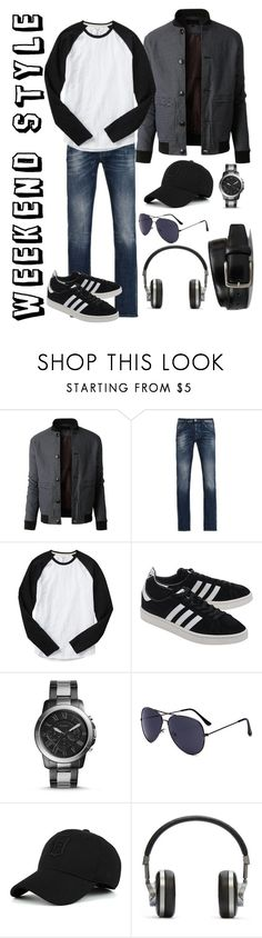 """""""Weekend Style for Him"""" by susistyle ❤ liked on Polyvore featuring LE3NO, Armani Jeans, Gap, adidas Originals, FOSSIL, Master & Dynamic, Tod's, men's fashion and menswear"""