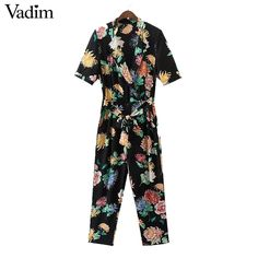 0184124b76a8 Vadim women sexy V neck chiffon floral jumpsuit sashes short sleeve pleated rompers  ladies vintage casual jumpsuits