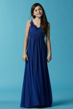 Thin spaghetti straps lend support to the flowing empire silhouette of Watters 47546 junior bridesmaid dress, framing the V-neckline and the smocked back. Junior Bridesmaid Dresses, Prom Dresses, Formal Dresses, Wedding Dresses, Bridesmaids, Wedding Outfits, Wedding Attire, Evening Dresses, Girls Dresses