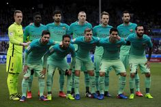 FC Barcelona line up prior to start the La Liga match between Deportivo Alaves and FC Barcelona at Estadio de Mendizorroza on February 11, 2017 in Vitoria-Gasteiz, Spain.
