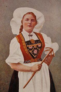 Norwegian Costume Norwegian postcard, circa 1900-1920.