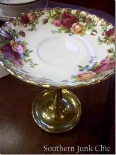 OMG -- pretty thrift store saucers, and I would use one of those Dollar Store glass candle holders, glue them together and viola! -- a sweet little pedestal serving dish for like two dollars and a dab of glue  (E6000)!!!  I so LOVE being THRIFTY CREATIVE!!!   From: http://southernjunkchic.blogspot.com/2011/12/shabby-chic-china-pedestals.html