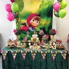 Candy masha bar and the bear - Celebrat : Home of Celebration, Events to Celebrate, Wishes, Gifts ideas and more ! Baby Birthday Cakes, Bear Birthday, Baby Girl Birthday, 2nd Birthday Parties, Birthday Party Decorations, Party Themes, Marsha And The Bear, Bear Party, Birthday Design