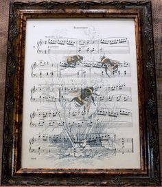 Three Bees Art Print on Antique Music Book Page Two by apageintime