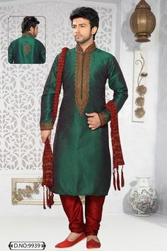 Green Art Silk and Dupion Kurta Pajama