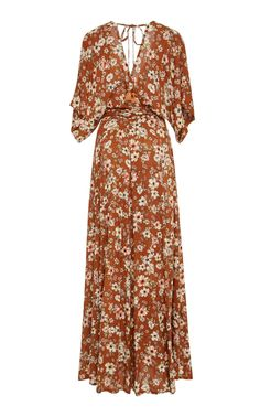 FAITHFULL Bergamo Maxi Wrap Brown Dress - We Select Dresses Wrap Dress Three Quarter Sleeves Partially Lined Composition: rayon Color: cecile rose print Wrap around, ties on the waist Imported Day Dresses, Casual Dresses, Fashion Dresses, Summer Dresses, Dress Outfits, Maxi Wrap Dress, Dress Skirt, Dress Up, Brown Dress