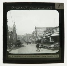 Cable tram travelling east along Bourke Street, Melbourne, from Queen Street, date unknown, possibly c1900. Photograph courtesy National Museum Australia.