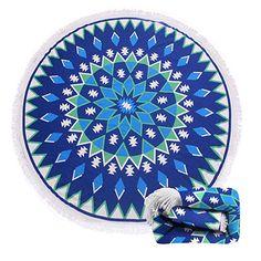 $20.99--MANDALA 04--(15 Patterns) Terry Round Beach Towel/Round Beach Blanket/ Round Beach Mat Roundie Tapestry/Round Yoga Mat with Fringe Tassels: Home & Kitchen
