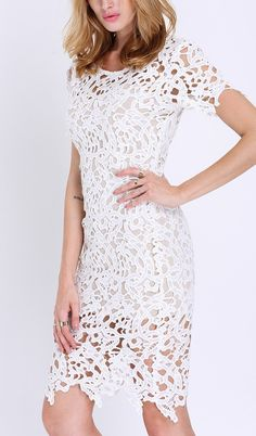 Different, but cute look with the SheIn white short sleeve crochet lace dress