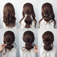Bun Hairstyles For Long Hair, Work Hairstyles, Buns For Short Hair, Easy Wedding Guest Hairstyles, Easy Updos For Medium Hair, Medium Hair Styles, Curly Hair Styles, Hair Upstyles, Aesthetic Hair