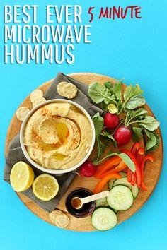 Best Ever 5 minute microwave hummus! Just 6 ingredients to restaurant-worthy hummus!