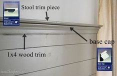 How to Cap Off a Wood Plank Wall with Decorative Trim - Beneath My Heart Wood Plank Walls, Wood Planks, Wall Wood, Plank Wall Bathroom, Shiplap Bathroom, Hall Bathroom, Bathroom Cabinets, 1x4 Wood, Gadget
