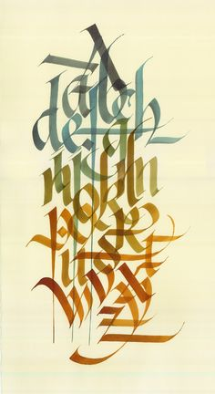 Artist: Dennis Goddard London, ON, Canada | Original calligraphy of the 26 Latin letters in the western alphabet. Hand rendered on hand made Italian water colour paper | 10 x 18 inches