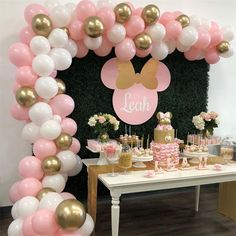 Ideas baby shower cake table backdrop minnie mouse - Ilkay's Geburtstag - Baby Shower Ideas Minnie Mouse Birthday Decorations, Minnie Mouse First Birthday, Minnie Mouse Baby Shower, First Birthday Parties, 2nd Birthday, Mickey Mouse Backdrop, Birthday Decoration Themes, Baby Minnie Mouse Cake, Girl Birthday Party Themes