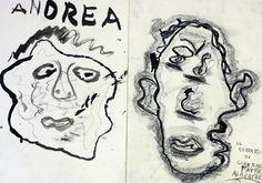 Autoritratti fatti guardandosi attraverso uno specchio messo nell'acqua (carboncino, china, grafite, pastelli a olio e cera)