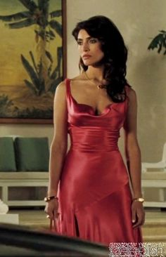 Caterina Murino Peach Pink Evening Dress In Movie Casino Royale 007 Dress
