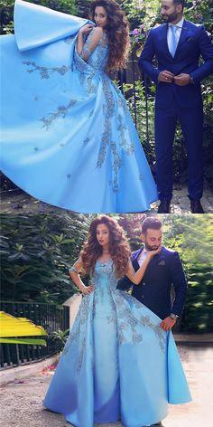 blue prom dresses,2017 prom dresses,appliques prom dresses,satin prom dresses