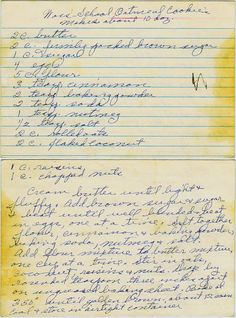 Can you make out the first word in the name of the recipe? From a box sold in Nampa, Idaho. [Something?] School Oatmeal Cookies 2 c. butter 2 c. firmly packed brown sugar 1 c. sugar 4 eggs 5 c. flo...
