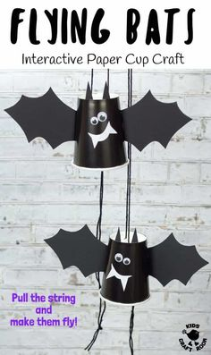 This paper cup flying bat craft is quick, easy and great for kids of all ages. Pull the strings to make the bat fly up and down! A fun kids Halloween craft. Halloween Crafts For Kids To Make, Fun Halloween Games, Theme Halloween, Halloween Activities For Kids, Easy Halloween Crafts, Halloween Bats, Easy Crafts For Kids, Crafts To Do, Halloween Decorations