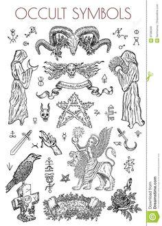 Illustration handla om Tatuerar den ockulta och esoteriska vektorn inristade illustrationen, gotisk och wiccabegrepp. Illustration av diagram, samling, freehand - 97586349 Kritzelei Tattoo, Doodle Tattoo, Dark Tattoo, Esoteric Tattoo, Occult Tattoo, Witchcraft Tattoos, Flash Art Tattoos, Occult Symbols, Occult Art