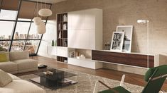 Modern Storage Cabinets For Living Room And Rectangular Glass Coffee Table With Beige Sofa Modern Floating Shelves, Beige Sofa, Living Room Cabinets, Storage Cabinets, Decoration, Furniture Making, Police, Furniture Design, Interior Design