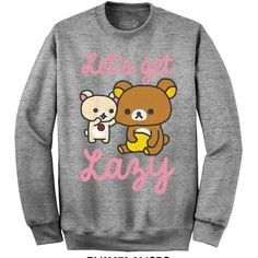 Rilakkuma Lets get lazy sweatshirt at Amazon Women's Clothing store: (€36) ❤ liked on Polyvore featuring tops, hoodies, sweatshirts, sweat tops, sweatshirts hoodies and sweat shirts