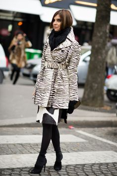 Carine Roitfeld at Balenciaga in a zebra coat and cowhide skirt.  The queen of cool strikes again.