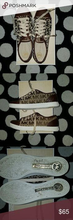Michael Kors Sneakers Monogram Jacquard City Sneakers -worn once Michael Kors Shoes Sneakers