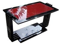 Black Lacquer & Red Vitrolite Coffee Table