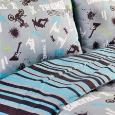 Extreme sports bedroom | bedroom with this 4-piece full-size comforter set featuring an extreme ...