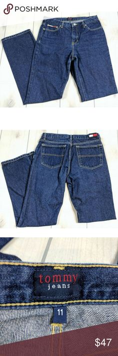 """Tommy Jeans ROC Jamil Dark Wash Sz. 11 Junior Tommy Jeans Dark Wash Size 11   100% Cotton, very soft  Waist - 16.5"""" across Inseam - 32""""  Leg Opening - 9"""" across Rise - 10""""  Excellent condition. Smoke free. No holes or stains. RT3 Tommy Hilfiger Jeans"""