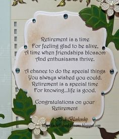 Embellished Dreams: Retirement Card. View 2 - enlargement of front verse.