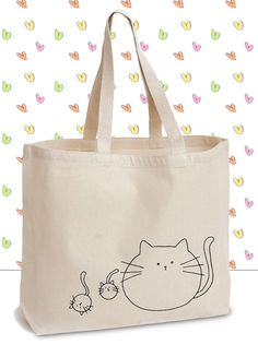 Fat Cats Canvas Tote Bag with Original Ink by GhettoPoodles