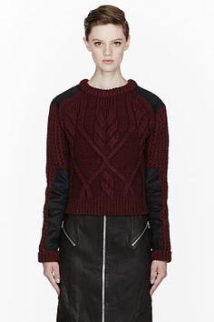 McQ Alexander McQueen Burgundy Cableknit Moto Crewneck Wool Sweater for women | SSENSE