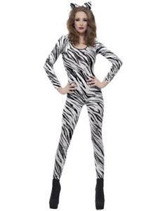 Sexy Zebra Print Bodysuit Unitard Body Stocking Catsuit Fancy Dress Brown 6 14 | eBay