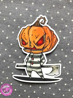 Little Pumpkinhead  2.9 x 2.1 in This listing is for one Pumpkinhead vinyl sticker.  Original character and art by Ricky Romero STICKER PACK OPTIONS AVAILABLE IN DROP DOWN MENUBUY MORE STICKERS AND SAVE  Include your other picks in notes to seller Sticker manufactured by Sticker App. Comes in a clear plastic protective sleeve securely packaged with care. Color on your monitor may differ from actual art do to differences in screens and resolution. Will combine shipping  and refund shipping…