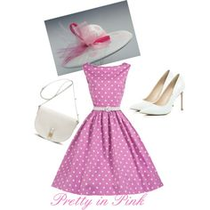 Pretty in Pink Kentucky Derby Outfit by fashionatraces on Polyvore featuring River Island and Mulberry