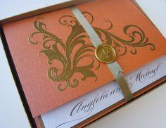 Tangerine Vintage Wedding Invitation