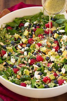 Berry Avocado Quinoa and Kale Salad —quinoa + baby kale + almonds + blueberries + raspberries + avocado + feta, via @cookingclassy