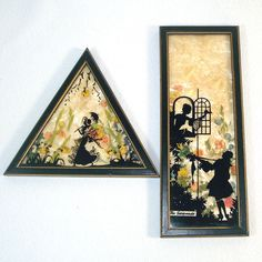 2 Fisher Reverse Painted Milkweed Romantic Silhouette Pictures 1930s