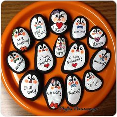 Penguins - Painted rocks by Phyllis Plassmeyer