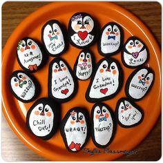 Penguins - Painted rocks by Phyllis Plassmeyer