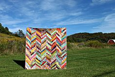 Herringbone quilt tutorial. Excellent quilt as you go instructions!!