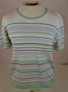 Alfred Dunner Size Small Short Sleeve Multicolored Knit Top Blouse Shirt