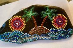 Hand painted beach stone
