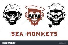 The image monkeys portraits in the sailor hat. T-short design template.  Vector illustration.